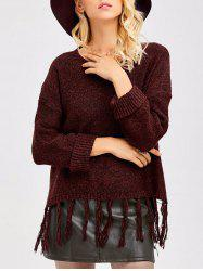 Tassel Drop Shoulder High Low Sweater