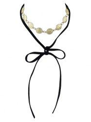 Alloy Coin Velvet Drawstring Necklace - BLACK