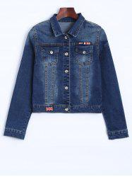 The Union Flag Spliced Cropped Jean Jacket