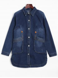 Fitted Long Casual Denim Jean Jacket with Sleeves - DENIM BLUE L