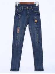 Taille haute Patches Distressed Jeans -