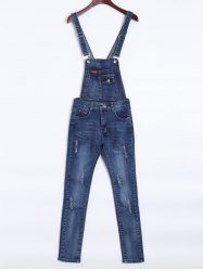 Ripped Pocket Denim Overalls