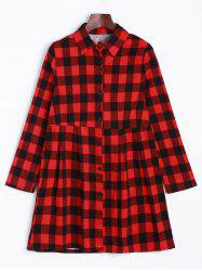 Button Up Checked Shirt Dress -