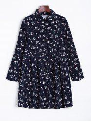Tiny Floral Long Sleeve Shirt Dress - ROYAL ONE SIZE