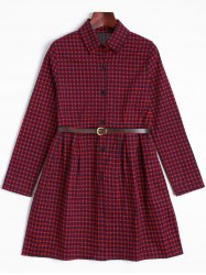 Tiny Checked Long Sleeve Shirt Dress