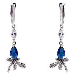 Stylish Zircon Butterfly Drop Earrings -