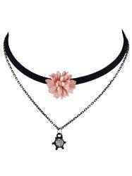 Double Layers Velvet Floral Choker Necklace - PINK