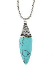 Embellished Faux Turquoise Oval Necklace