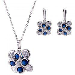 Petal Zircon Pendant Necklace Set