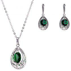 Teardrop Fake Emerald Jewelry Set - GREEN