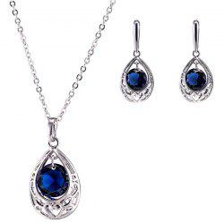 Teardrop Heart Zircon Pendant Necklace Set - BLUE