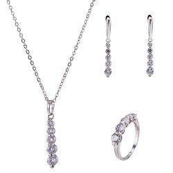 Alloy Beading Rhinestone Pendant Necklace Set