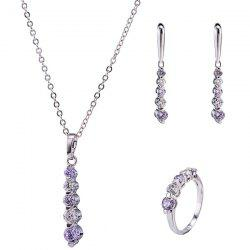 Beading Rhinestone Pendant Necklace Set - LIGHT PURPLE