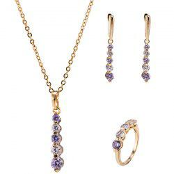 Rhinestone Pendant Necklace Set - LIGHT PURPLE