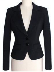 Two Buckle Slim  Fit Blazer - BLACK
