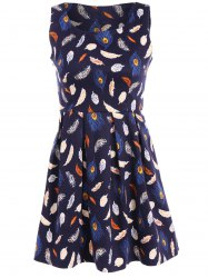 Feather Print Fit and Flare Dress -