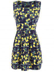 Lemon Print Fit and Flare Dress -