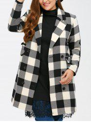 Plus Size Tartan Plaid Double Breasted Coat - BLACK PLAID