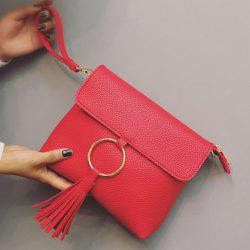Metal Ring Tassels Magnetic Closure Crossbody Bag -