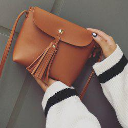 Tassels Metal PU Leather Crossbody Bag - LIGHT BROWN
