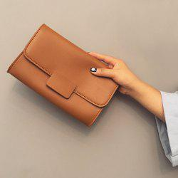 Magnetic Closure Stitching PU Leather Clucth Bag - LIGHT BROWN