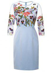 Semi Sheer Flower Embroidered Pencil Dress -