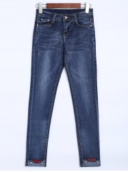 High Rise Embroidered Hem Jeans -