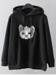 Cartoon Embroidered String Hoodie -