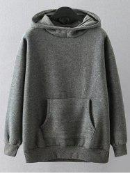 Cartoon Print Casual Loose Hoodie - GRAY