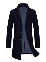 Slim Fit Single Breasted Lapel Wool Blend Coat - CADETBLUE 3XL