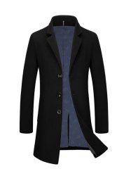 Slim Fit Single Breasted Lapel Wool Blend Coat - BLACK