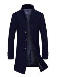 Stand Collar Single Breasted Wool Blend Coat - CADETBLUE 3XL