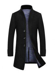 Stand Collar Single Breasted Wool Blend Coat - BLACK