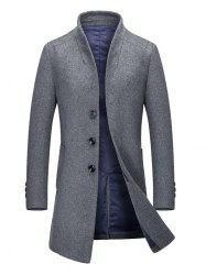 Stand Collar Single Breasted Wool Blend Coat - GRAY XL