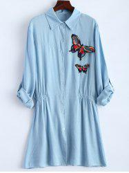 Long Sleeve Plus Size Butterfly Embroidered Elastic Waist Shirt -
