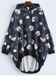 Loose Fit Floral Print High Low Hoodie - DEEP BLUE 2XL