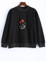 Floral Embroidered Long Sleeve Hoodie -