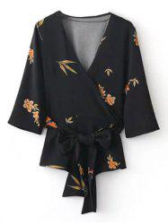Surplice Belted Printed Kimono Blouse