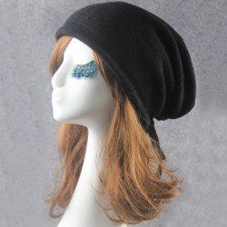 Knitted Drawstring Beanie - BLACK