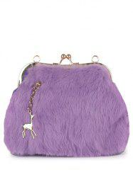 Faux Fur Panel Kiss Lock Evening Bag -