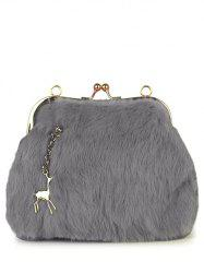 Faux Fur Panel Kiss Lock Evening Bag - LIGHT GRAY