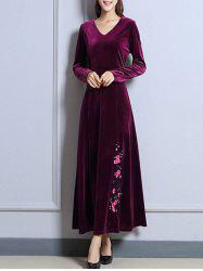 Velvet Long Sleeve Maxi Prom Evening Dress -