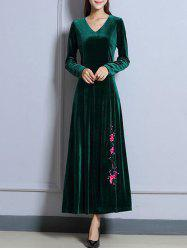 Velvet Long Sleeve Maxi Prom Evening Dress