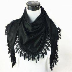 Outdoor Grape Cluster Tassel Chiffon Triangle Scarf - BLACK