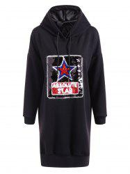 Casual Star Sequins Plus Size Hoodie Dress -