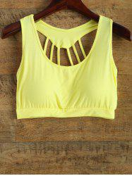 Scoop Neck Back Strappy Padded Yoga Top - YELLOW