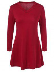 Mini Long Sleeve V Neck Fit and Flare Dress - RED XL