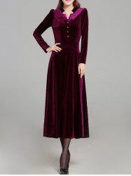Velvet Long Sleeve Buttons Swing Dress