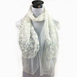Outdoor Wintersweet Embroidery Lace Scarf -