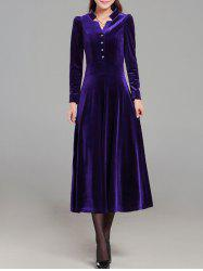 Velvet Long Sleeve Midi Swing Dress